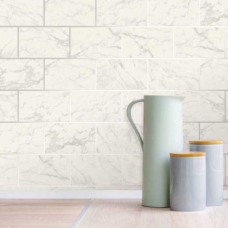3D Effect Brick Tile Wallpaper White Grey Marble Silver Metallic Vinyl Crown