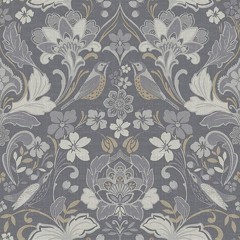 Folk Floral Denim Grey Wallpaper Flower Botanical Animal Print Bird Arthouse