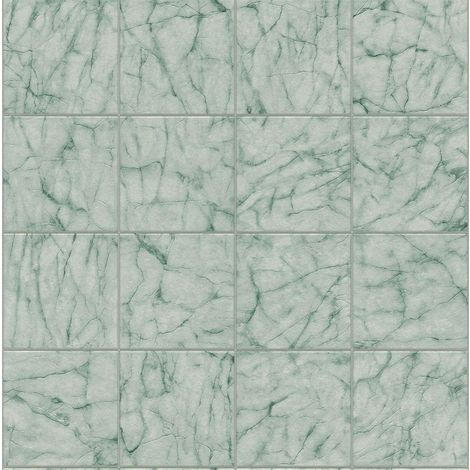 Teal Green Marble Tile Effect Wallpaper Realistic Kitchen Bathroom Embossed