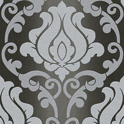Black Grey Damask Glitter Wallpaper Sparkle Textured Vinyl Washable A.S Creation