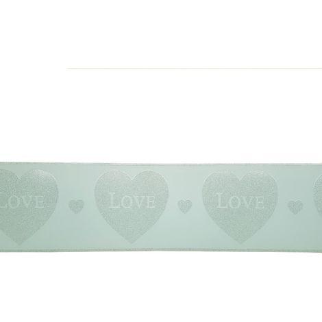 Mint Green Silver Glitter Hearts Wallpaper Border Glitz Girls Room Nursery