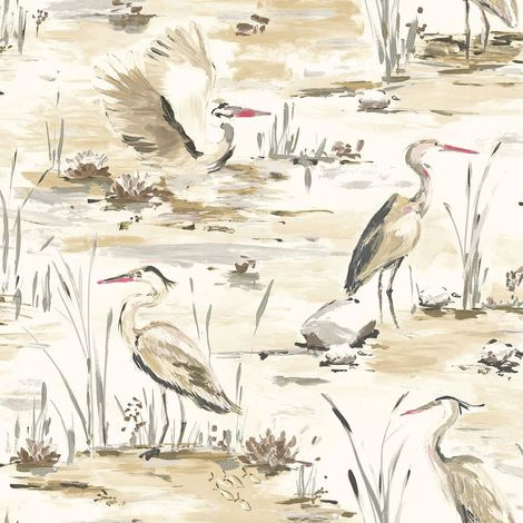 Cranes Reeds Floral Wallpaper Red White Beige Grey Watercolour Paste Wall Holden
