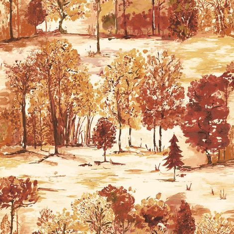 Woodland Forest Trees Wallpaper Orange Cream Watercolour Effect Holden Roscoe
