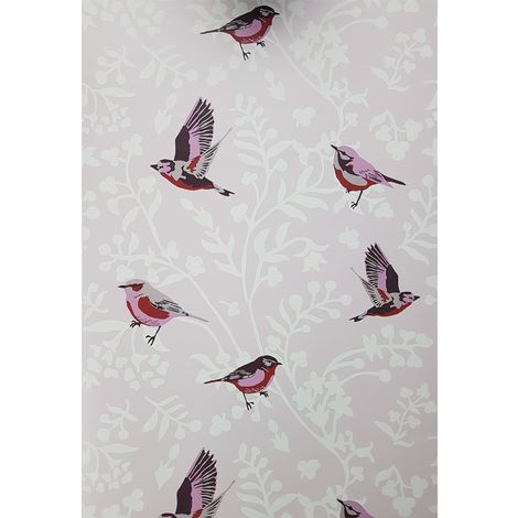 Floral Trail Birds Wallpaper Pink White Girls Room East West Papers Vintage Chic