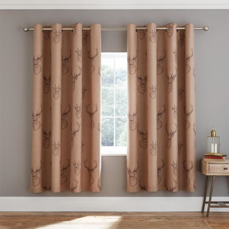 Catherine Lansfield Stag Easy Care Curtains 66x90 inch Multi