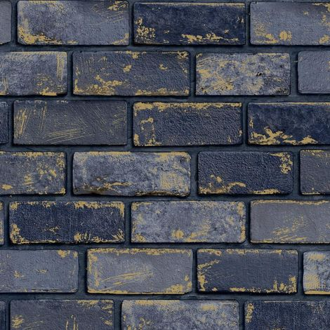 3D Effect Navy Blue Gold Metallic Brick Wallpaper Stone Industrial Arthouse