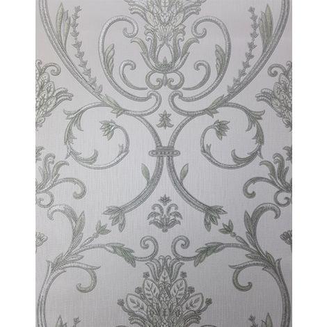 Debona Isabella Damask Silver Wallpaper Floral Glitter Textured Italian Vinyl