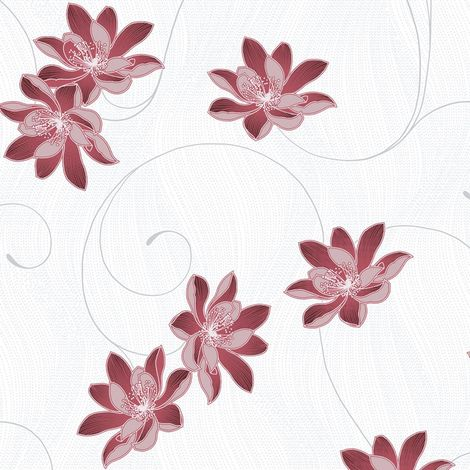 Muriva Orla Red Floral Glitter Wallpaper White Silver Metallic Shimmer Vinyl