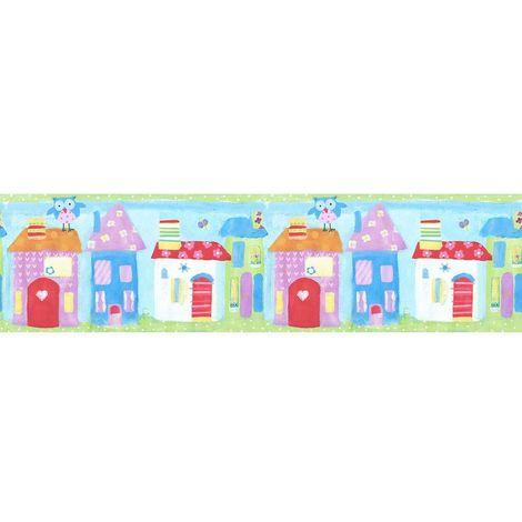 Children's Town House Wallpaper Border Owls Blue Green Pink Paste Wall Galerie
