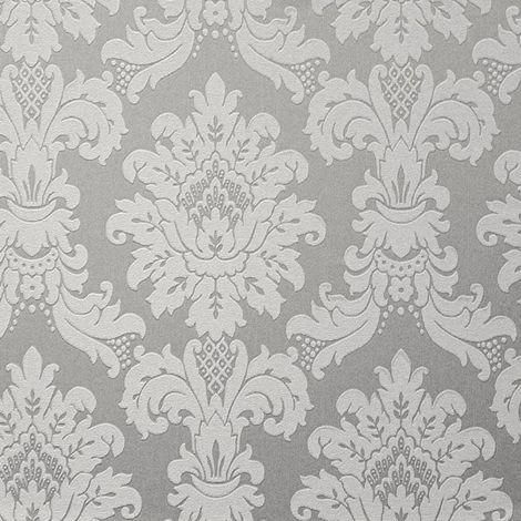 Silver Metallic Damask Wallpaper Vintage Faux Fabric Vinyl Arthouse Messina