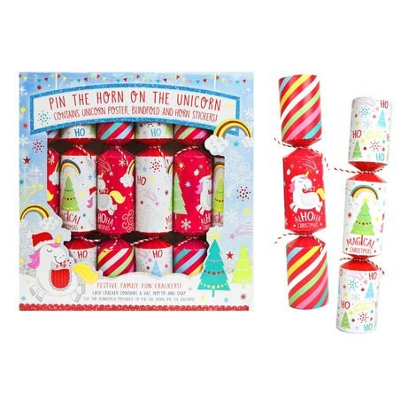 6 Christmas Crackers Board Game Unicorn Kids Xmas Table Fun Gifts Hats Santa