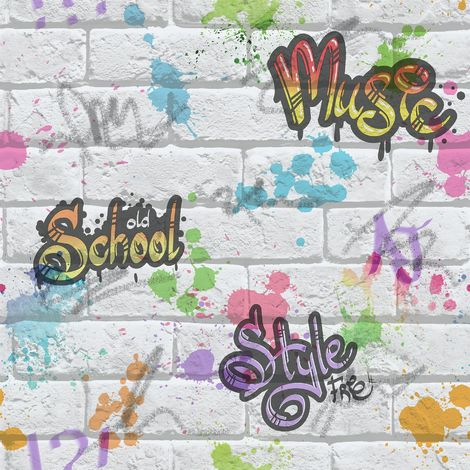 Graffiti Brick Effect Wallpaper Mulitcoloured Kids Holden