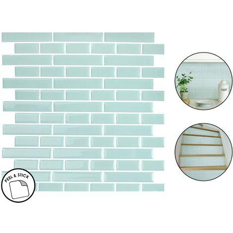 4 Sea Glass Backsplash Tiles Peel & Stick 4pcs Teal Blue Home Wall Stickers