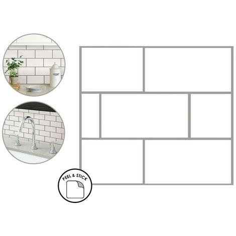 Subway Backsplash Tiles Peel & Stick 4pcs White Brick Self Adhesive Wall Sticker