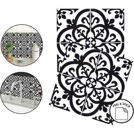 Avignon Backsplash Tiles Peel & Stick 4pcs Black White Floral Home Wall Stickers
