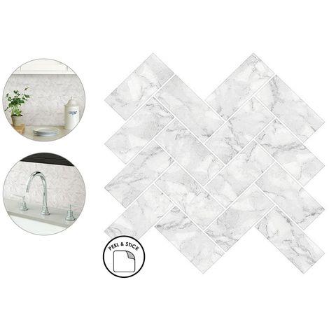 Herringbone Carrara Backsplash Tiles Peel & Stick 4pcs White Marble Wall Sticker