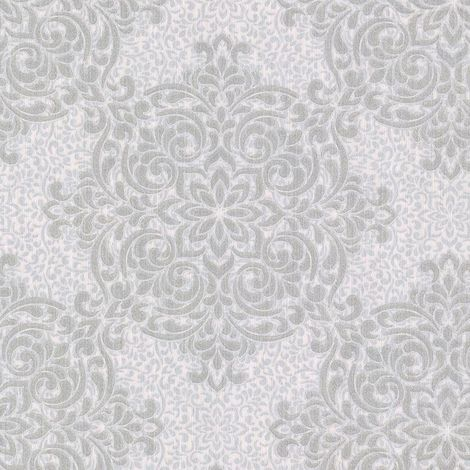 Silver Prism Wallpaper Grey Damask Floral Fine Decor Vinyl