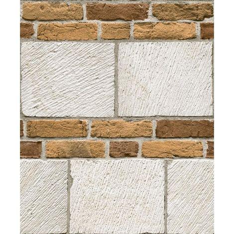White Brick Effect Wallpaper Off-White Grey Textured Industrial Muriva