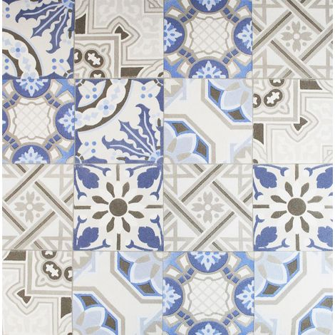Moroccan Tile Effect Wallpaper Rasch Beige Blue Grey Paste The Wall Vinyl