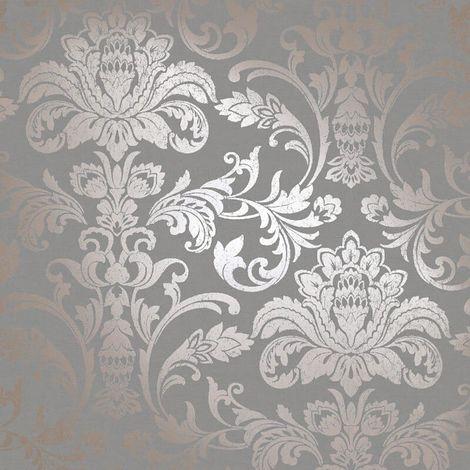 Glistening Damask Wallpaper Grey YöL Metallic