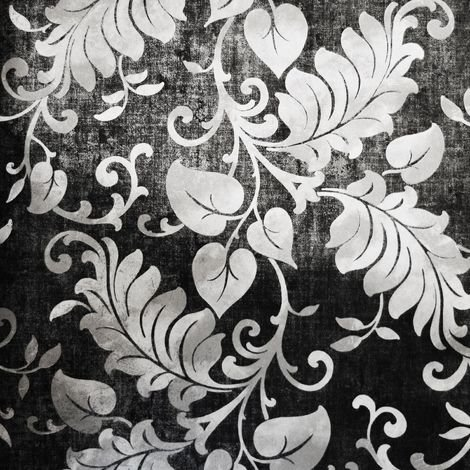 Charcoal Floral Wallpaper Grandeco Paste The Wall Damask Silver Metallic