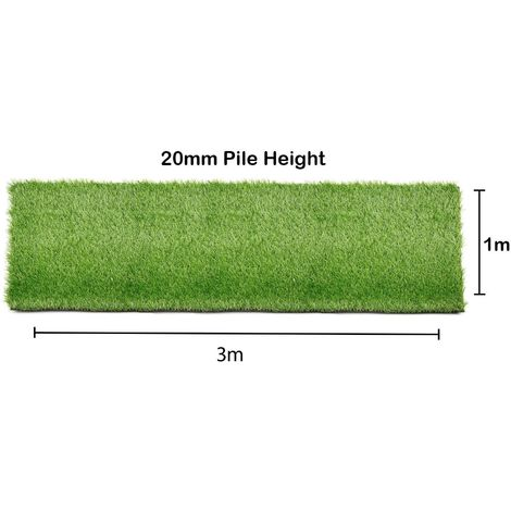 Artificial Grass 1x3m Garden Outdoor Green Fake Lawn Astro Turf 20mm Pile Thick