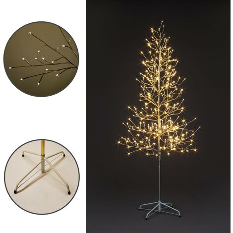 Champagne Gold Christmas Tree LED Illuminated Warm Pre-Lit 180cm Garden Home