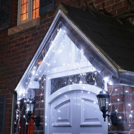 200 Ice White LED Icicle Chaser Lights with Timer