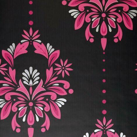 Dulux Antoinette Fuschia Floral Wallpaper Pink Grey Silver Damask Textured