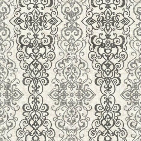 Damask Grey Retro Vintage Matt Finish Wallpaper Washable Wall Covering