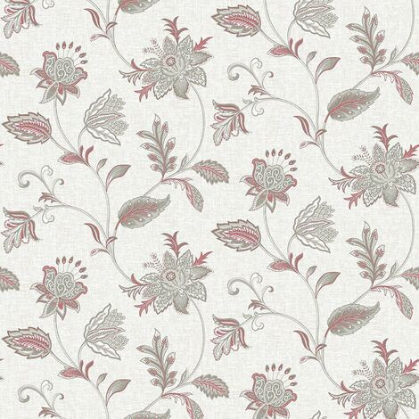 Ami Georgette Pink Floral Damask Wallpaper Grey Sage Wall Covering