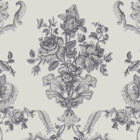 Sirpi Textured Floral Damask Wallpaper Metallic Embossed Glitter Silver Grey