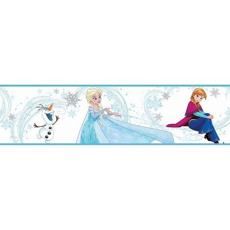 Disney Frozen Self Adhesive Boarder Anna Elsa Olaf Blue And White Pack Of 3 Rolls