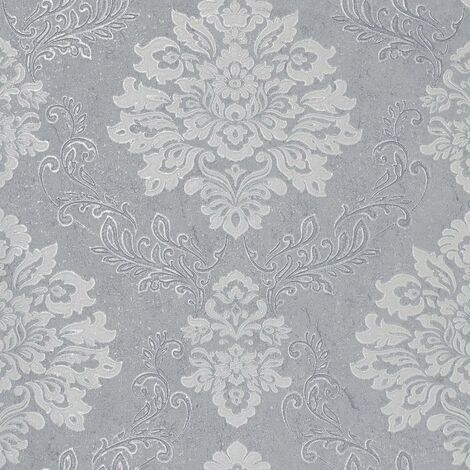 Palazzo Damask Wallpaper Arthouse Silver Grey White Glitter Textured Vinyl