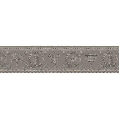 Versace Medusa Head Wallpaper Border Designer Luxury Textured Grey Silver