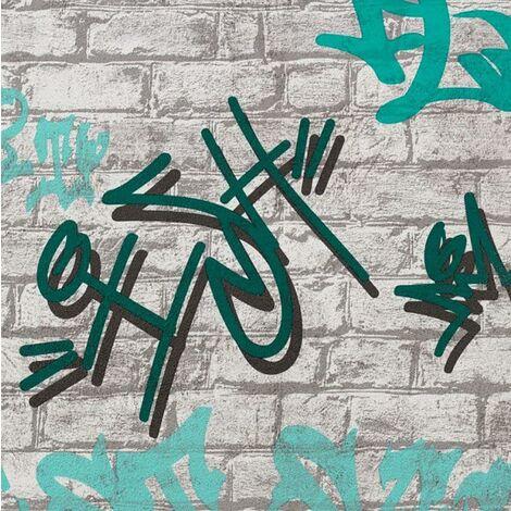Graffiti Brick Effect Wallpaper Erismann White Grey Blue Teal Urban Kids