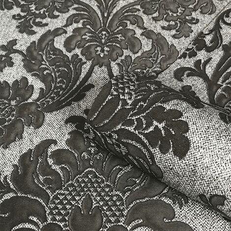 Sanremo Damask Wallpaper Belgravia Glitter Texture Heavyweight Vinyl Black Grey