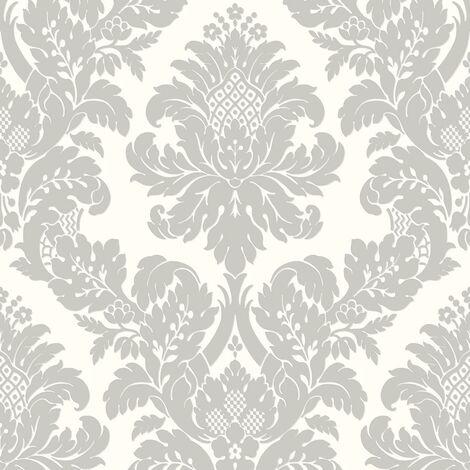 Pear Tree Damask Wallpaper Metallic Glitter Textured White Grey Vinyl