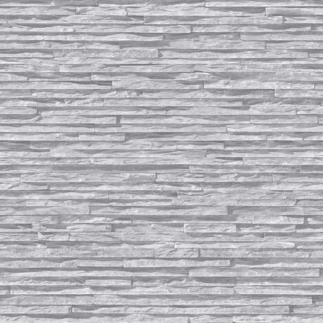 Slate Stone Brick Effect Wallpaper Bluff Muriva Light Grey Textured Vinyl