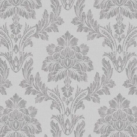 Salvador Wallpaper Holden Decor Damask Floral Silver Grey Metallic Textured