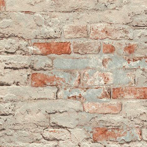 Brick Effect Wallpaper Rasch Paste The Wall Textured Vinyl Red Grey