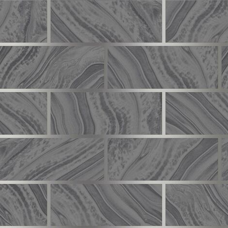 Glitter Brick Effect Wallpaper Rasch Charcoal Silver Textured Metallic Vinyl
