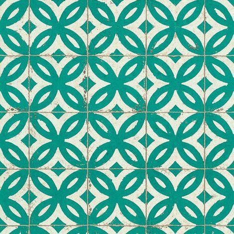 Tile Effect Wallpaper Rasch Teal White Textured Vinyl Paste The Wall