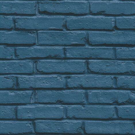 Navy Brick Effect Wallpaper AS Creation Industrial Modern Paste The Wall Vinyl