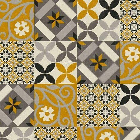 Moroccan Tile Effect Wallpaper AS Creation Yellow Black Grey Mosaic Vinyl