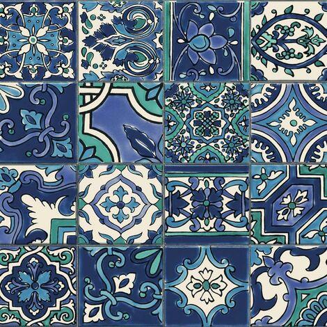 Mosaic Tile Effect Wallpaper D-C-Fix Bathroom Kitchen Vinyl Teal Blue White