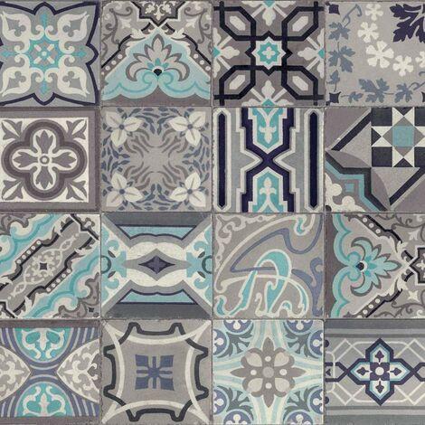 Mosaic Tile Effect Wallpaper D-C-Fix Bathroom Kitchen Vinyl Grey Blue White