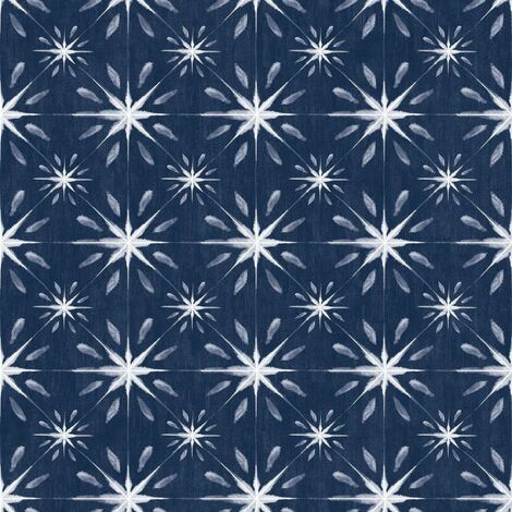 Galerie Blue And White Star Tile Effect Wallpaper Smooth Finish Wall Covering