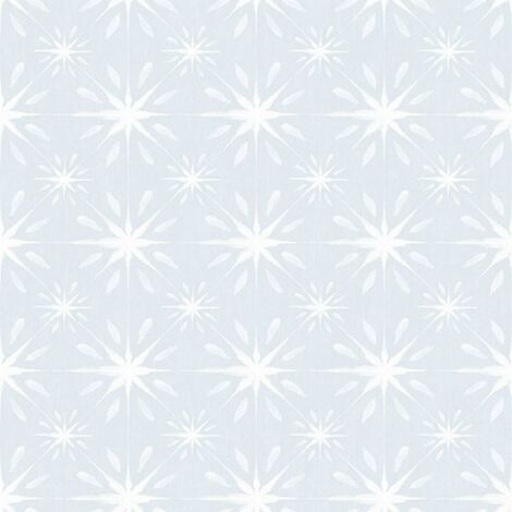 Galerie Grey And White Star Tile Effect Wallpaper Smooth Finish Wall Covering