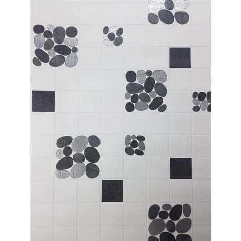 Off White Tile Effect Wallpaper Pebble Silver Metallic Vinyl Kitchen Bathroom